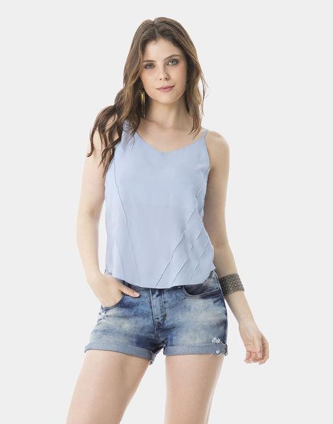 c93c905d73 Blusa com Alças Tecido Nervuras Azul Cerulean