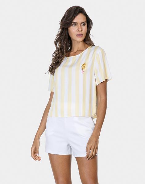 Blusa Cropped com Bordado Tecido Amarelo Limonada 91ba45c060bb0