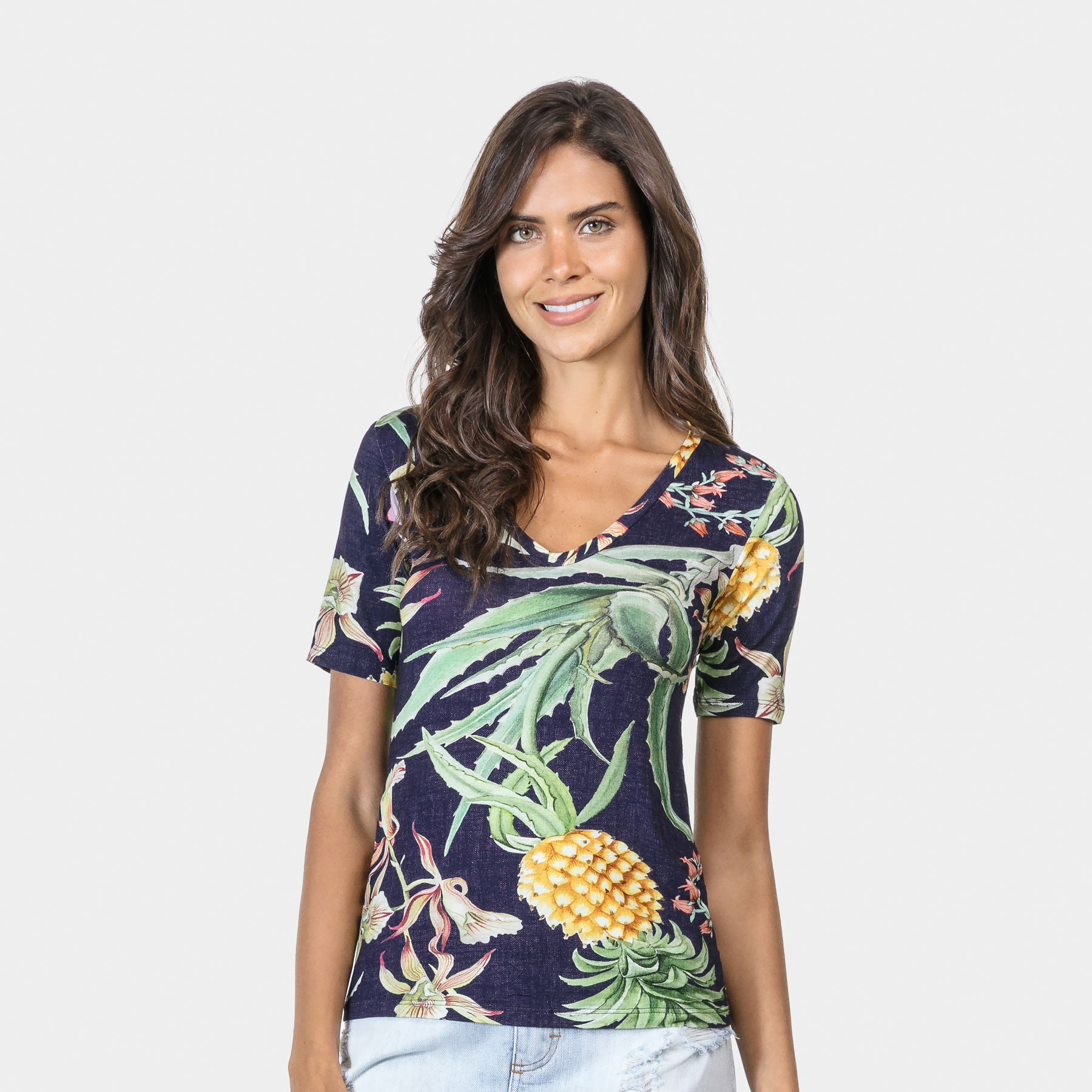 54a31a4f03bb Blusa Estampada Decote V Malha Aloe - Lez a Lez