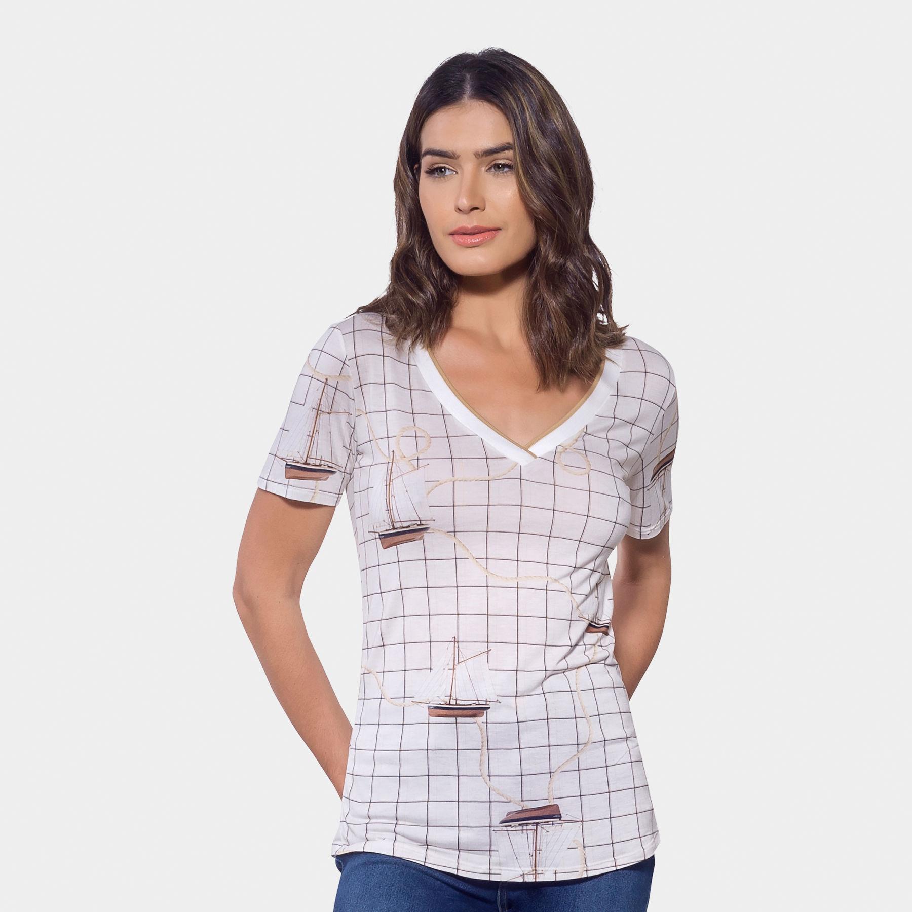c5ae8572e4 Blusa Estampada Decote V Malha Blanc - Lez a Lez