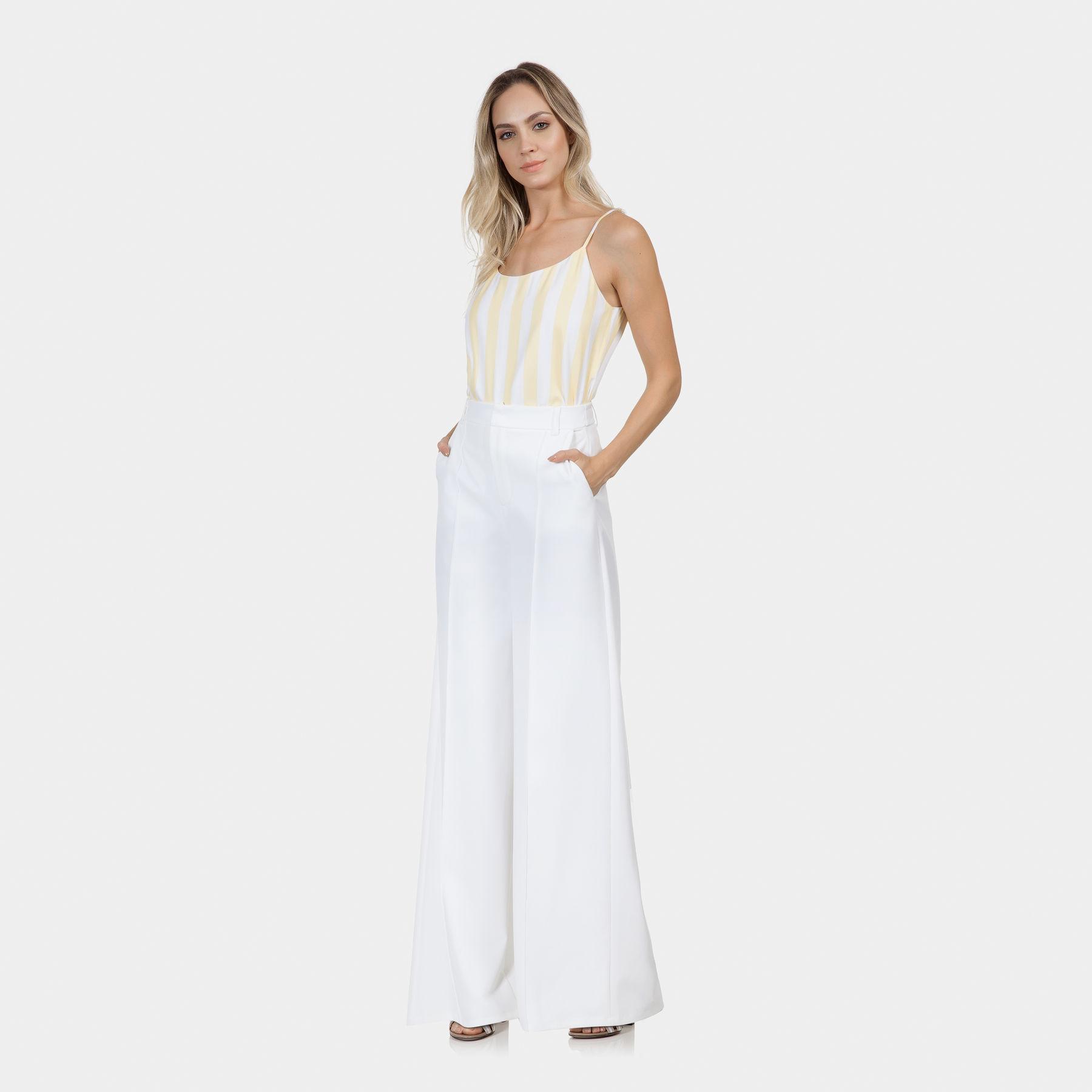 e24b5b416 Calça Pantalona Juliana Jabour Branco Off White - Lez a Lez