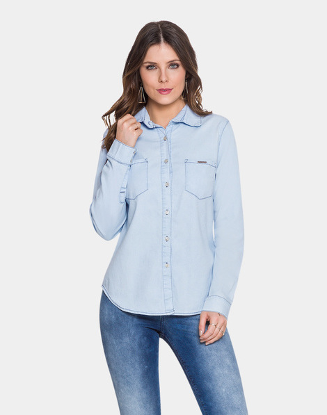 Camisa Jeans Manga Longa Délavé Jeans Claro