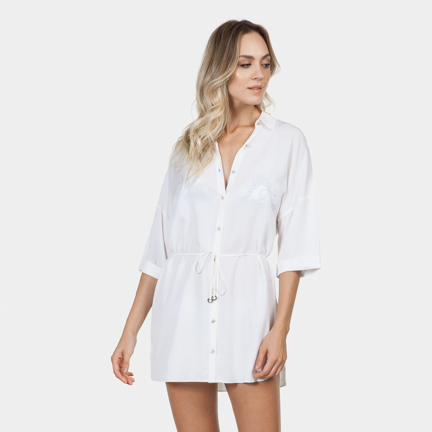 502830366 Camisa Manga 3/4 Saída de Praia Branco Off White - Lez a Lez
