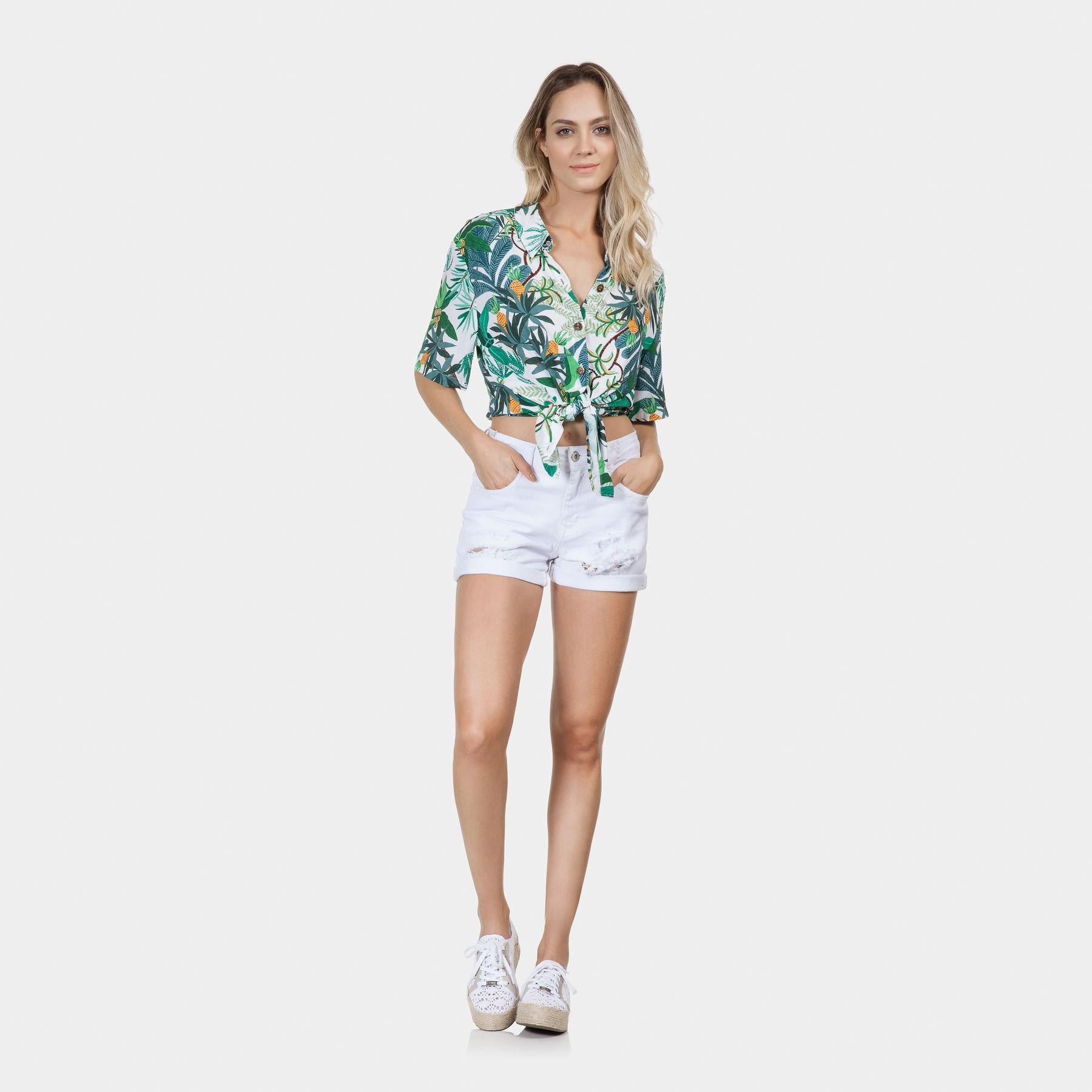 05c219753 Camisa Manga Curta Estampa Tecido Ananas - Lez a Lez