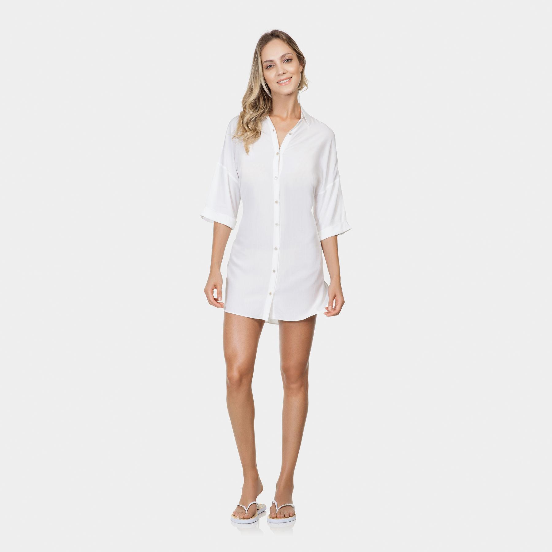 f1f904416 Camisa Saída de Praia Tecido Branco Off White - Lez a Lez