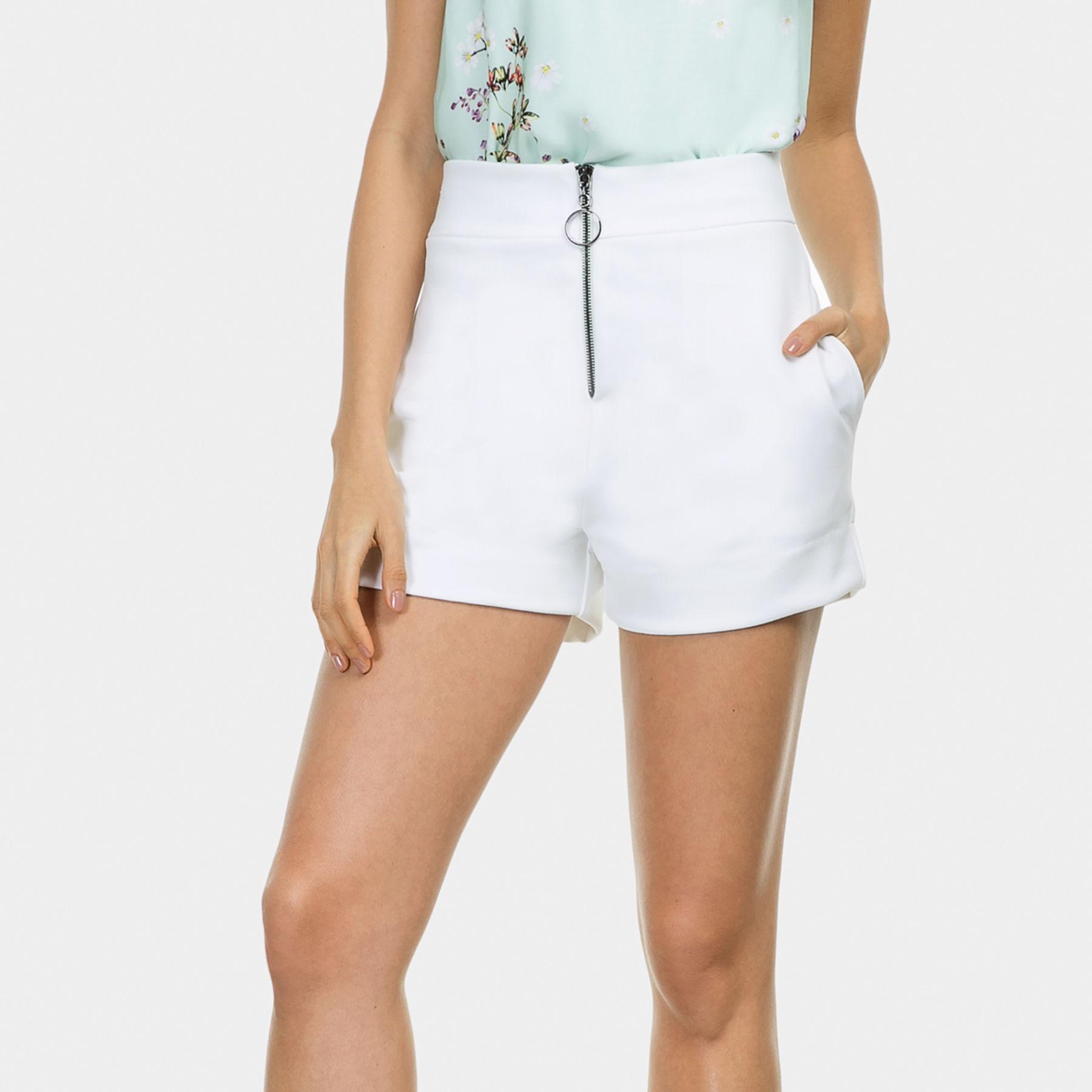 5f9e60a715 Shorts Cintura Alta Zíper Malha Branco Off White - Lez a Lez