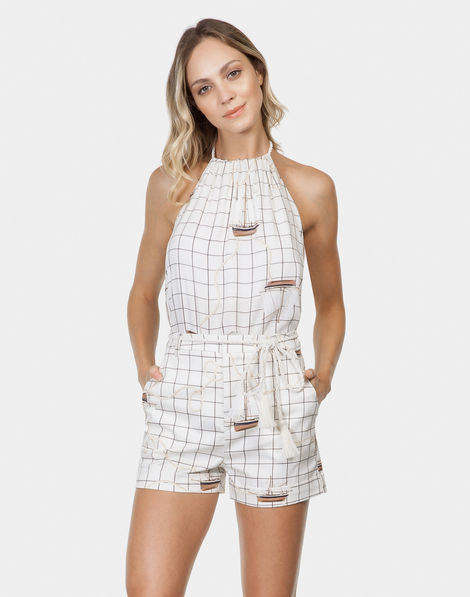 a2f19103d Shorts Estampado Tecido com Cinto Blanc
