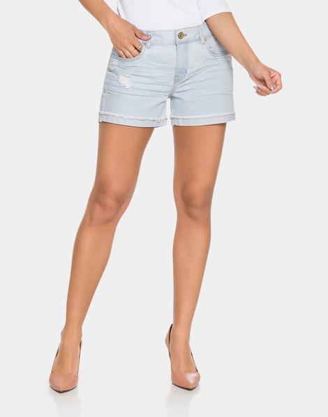 24ee8e0d4 Shorts Jeans Cintura Média Jeans Claro