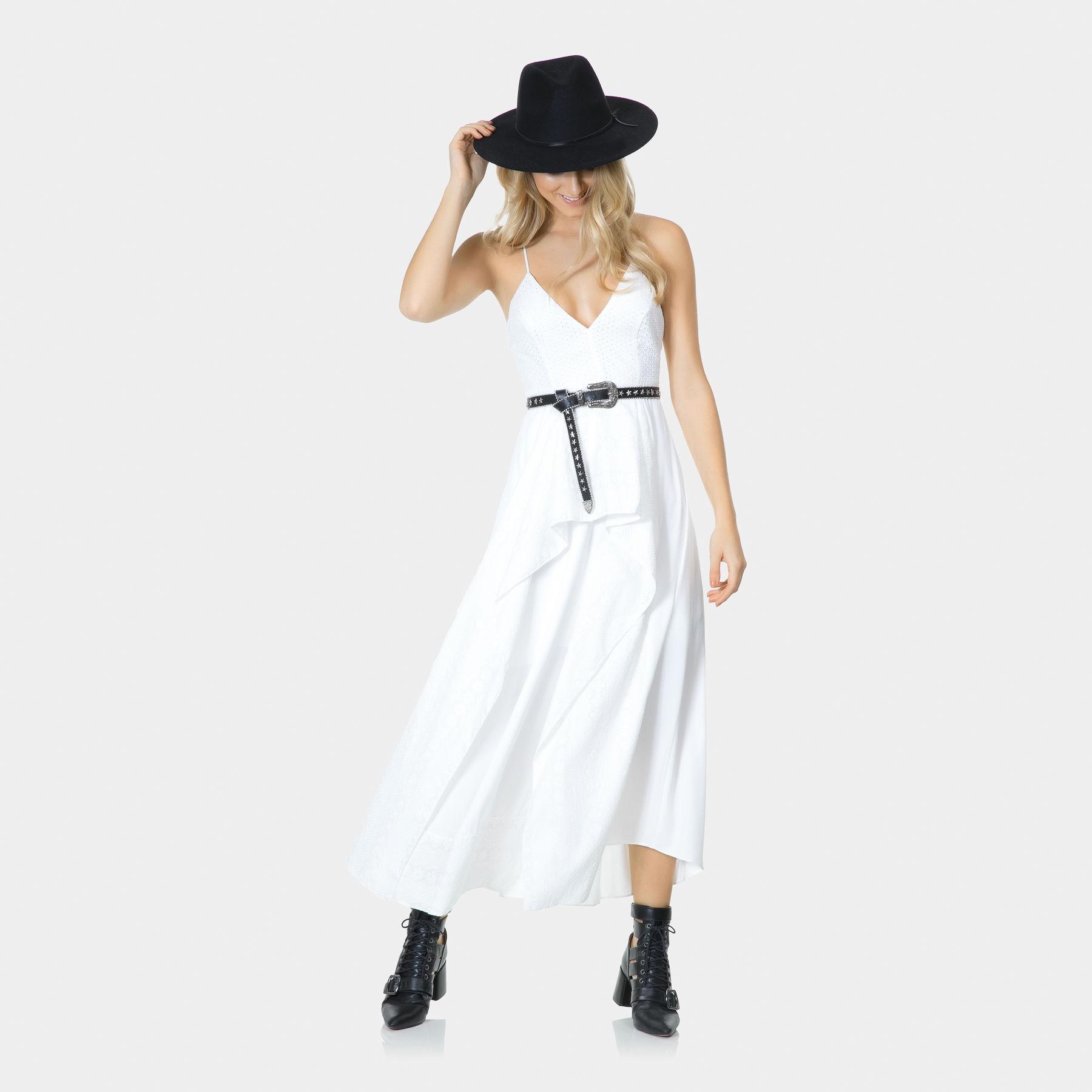 Vestido Alças Mídi Tecido E Laise Branco Off White Lez A Lez
