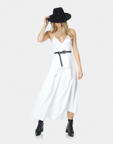 5ce472b70 Vestido Alças Mídi Tecido e Laise Branco Off White
