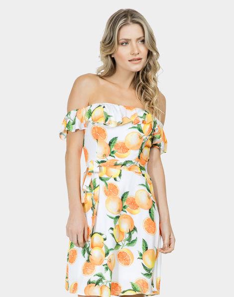 266f79e974 Vestido Ciganinha Tecido com Cinto Orange