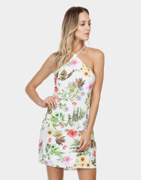 856ac75c8 Vestido com Alças Estampado Tecido Fleur
