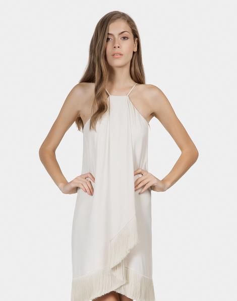 1699d99a6b Vestido com Franjas em Tecido Bege Valsa