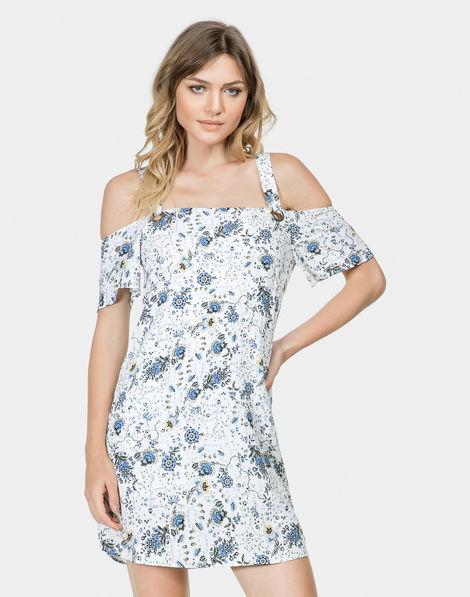 8cb2406684 Vestido Estampado em Tecido Fleur Ancienne