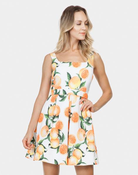 5376e0e61 Vestido Evasê com Cinto Tecido Orange