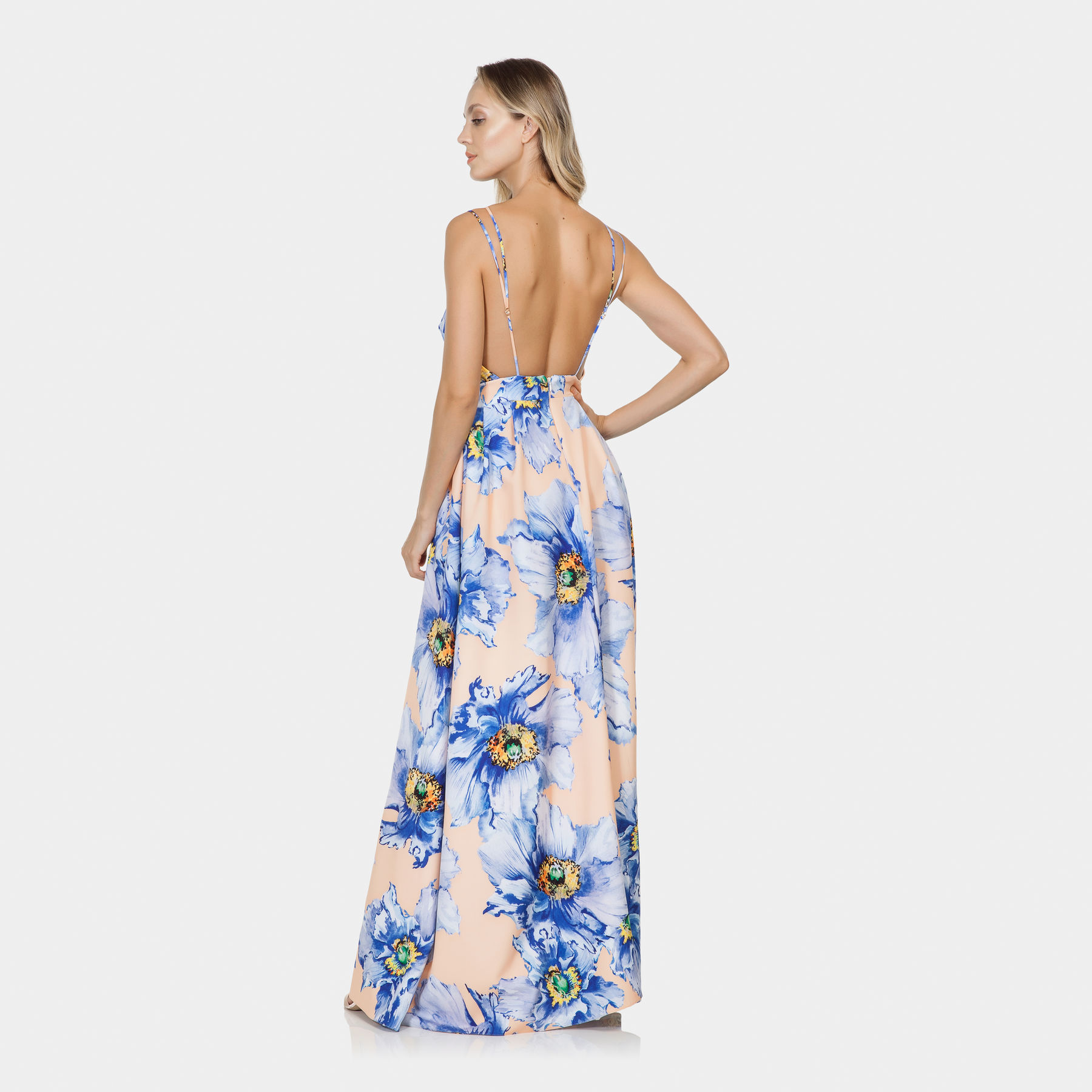 Vestido Longo Estampado Tecido Aquarelle Lez A Lez