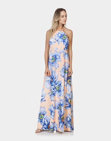 0ac1310826f8 Vestido Longo Estampado Tecido Aquarelle