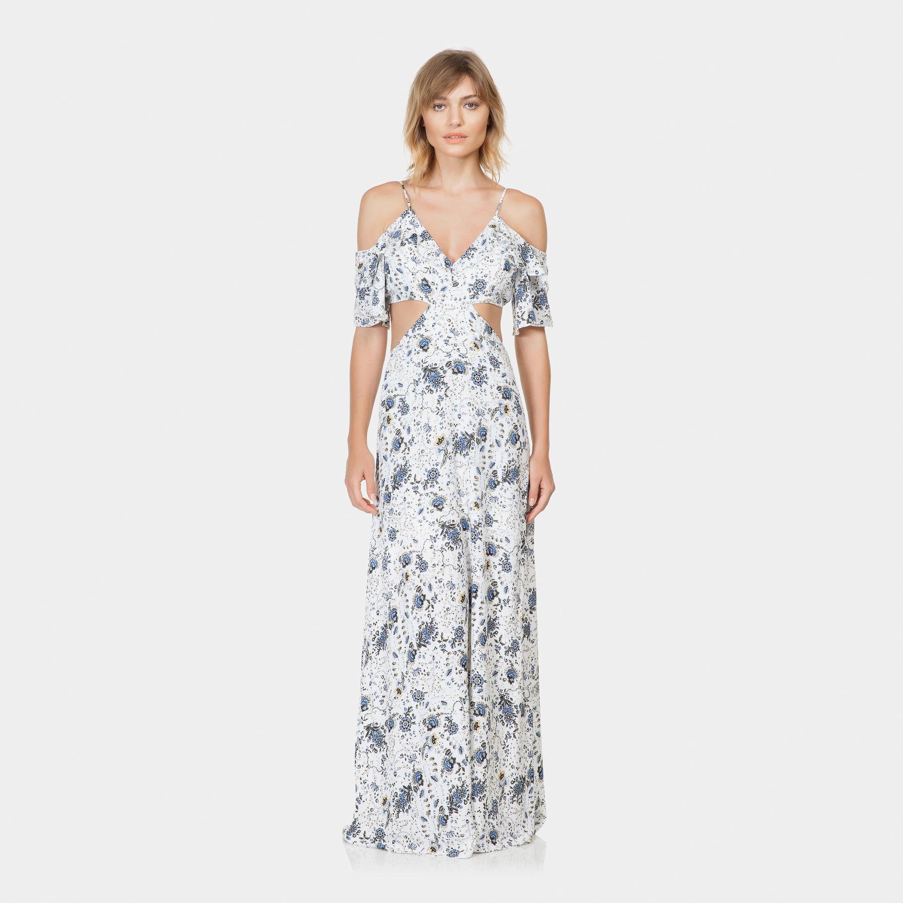 Vestido Longo Estampado Tecido Fleur Ancienne Lez A Lez