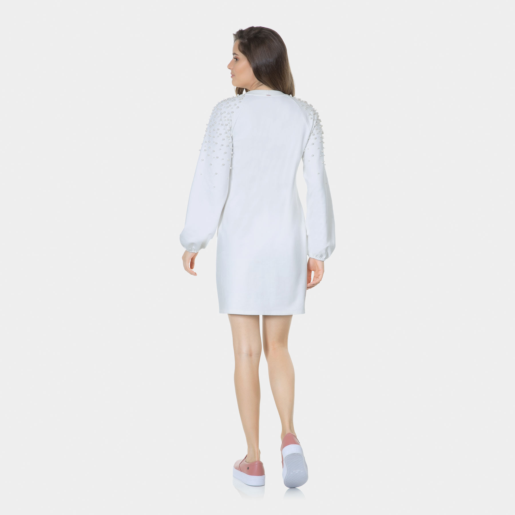 383084ac4 Vestido Manga Longa Pérolas Branco Off White - Lez a Lez