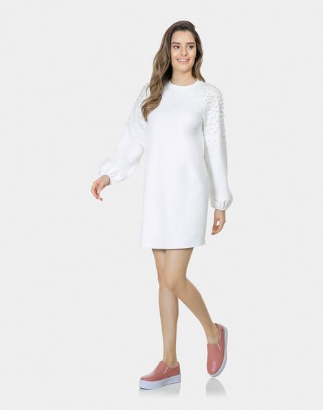3c420d4e7 Vestido Manga Longa Pérolas Branco Off White