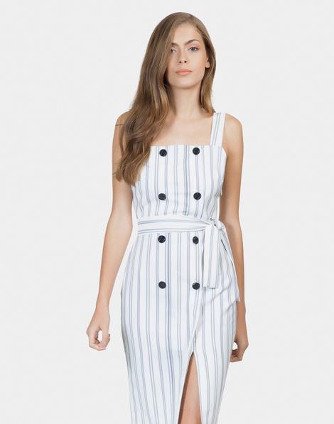 115a2266000e Vestido Mídi com Cinto Tecido Rustique