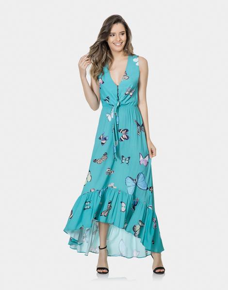 acee61019 Vestido Mídi Estampado Tecido Sedona