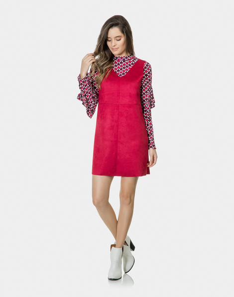 37edf0358 Vestido Reto Decote V Tecido Vermelho Verbasco
